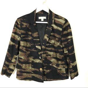 Michael Kors black/green printed blazer